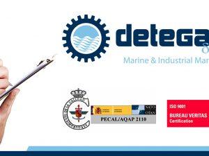Detegasa re certificate 9001 (2015) and PECAL (2016)