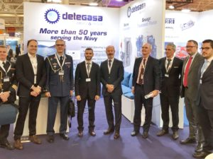 A delegation of the Spanish MoD visits Detegasa's booth at Euronaval 2018